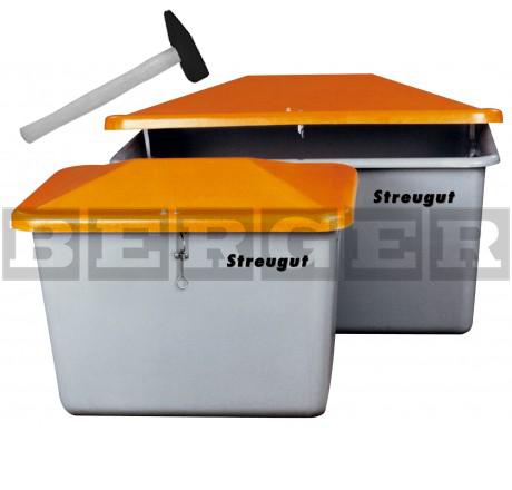 Streugutbehälter V grau-orange mit Vandalismusdeckel ohne Entnahme