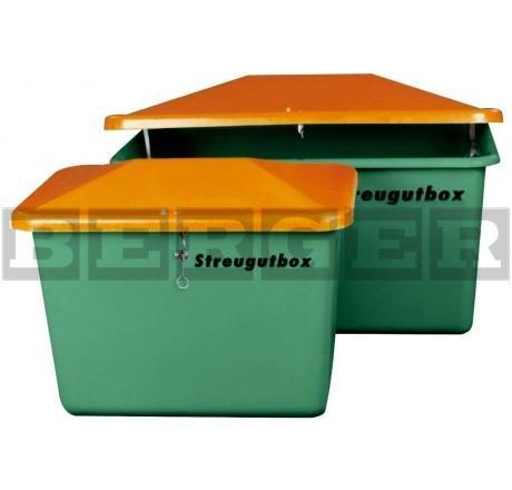 Streugutbehälter V grün-orange mit Vandalismusdeckel ohne Entnahme