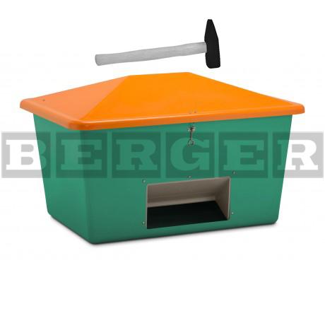 Streugutbehälter V grün-orange mit Vandalismusdeckel mit Entnahme Vandalismusdeckel