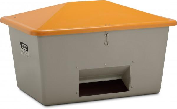 Streugutbehälter grau-orange mit Entnahme