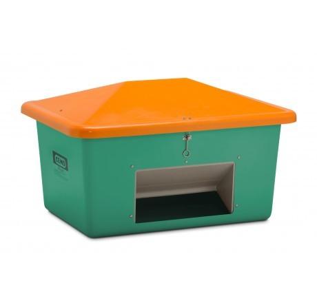 Streugutbehälter grün-orange mit Entnahme