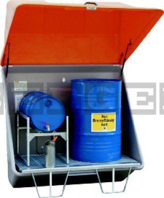 Schadstoff-Sammelstation aus GFK mit Gitterrostboden