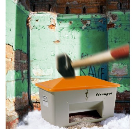Streugutbehälter V grau-orange mit Entnahme Vandalismusdeckel