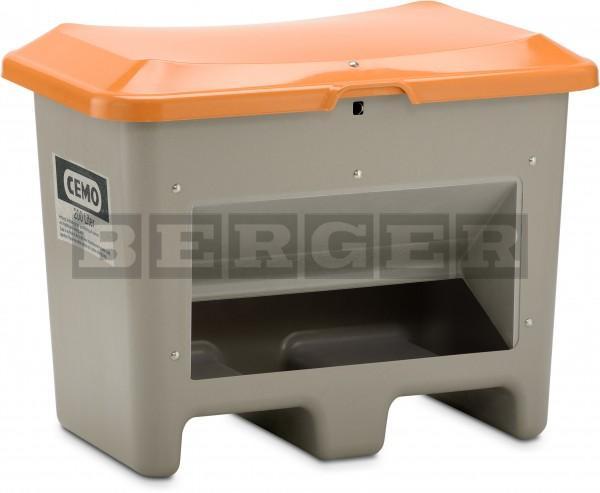 Streugutbehälter Plus3 grau-orange mit Entnahme mit Staplertaschen