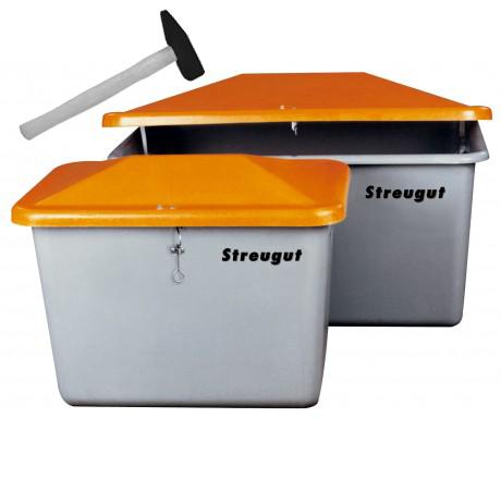 Streugutbehälter V grau/orange ohne Entnahme Vandalismusdeckel