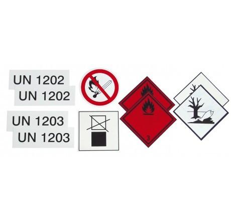 Klebeschilder-Set Gefahrenstoffe zur Nachrüstung