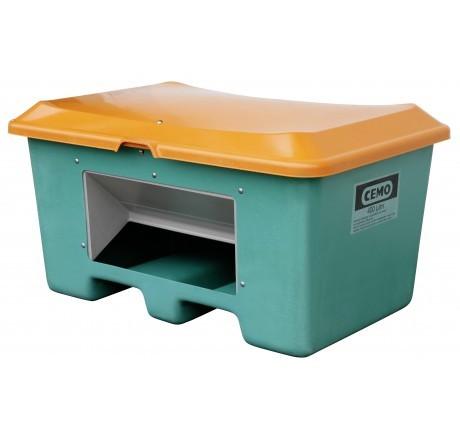 Streugutbehälter Plus3 grün-orange mit Entnahme mit Staplertaschen